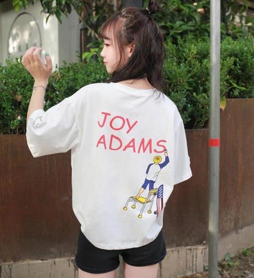 เสื้อแฟชั่น คอกลม แขนสั้น แต่งขาดๆ ลาย ADAMS สีขาว