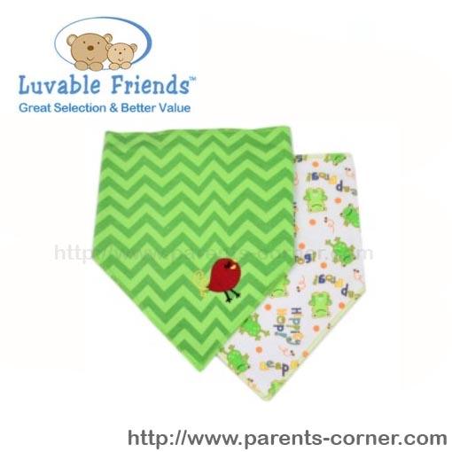 ผ้ากันเปื้อนสามเหลี่ยม Luvable Friends แพ็คคู่-ลูกเจี๊ยบสีเขียว