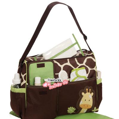 กระเป๋าใส่ของใช้ลายยีราฟสีน้ำตาลเขียว
