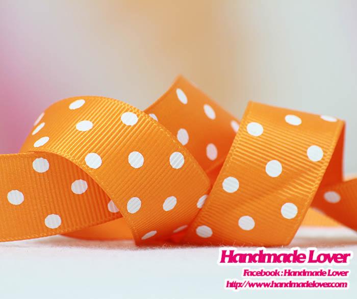 ริบบิ้นผ้า กรอสเกรน สีส้ม พิมพ์ลายจุด