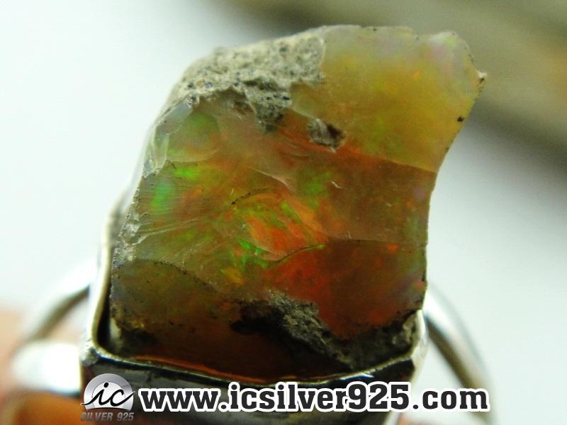 ▽โอปอล (Opal)เอธิโอเปีย แหวนเงินแท้ 925 (แหวนเบอร์ : 56 , 3.8g)