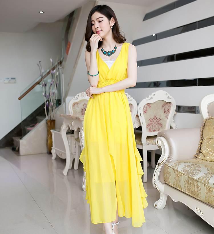 ชุดแซกยาวสวยๆ สีเหลือง ผ้ายืด