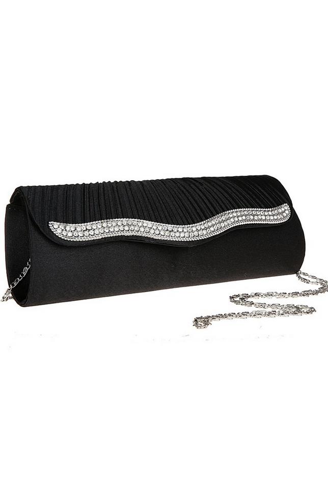 กระเป๋าคลัทช์ออกงานสีดำ ทรงยาว แต่งเพชร ถือออกงาน ไปงานแต่งงาน ลุคเรียบๆ สุดหรู
