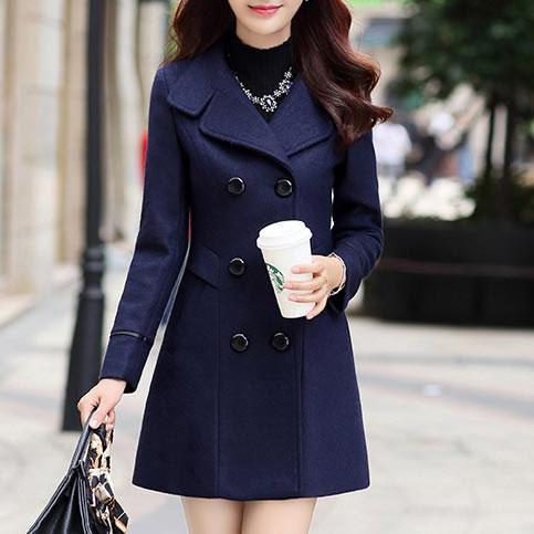 เสื้อโค้ทกันหนาวผู้หญิง สีกรมท่า คอปก แต่งเว้าสวย ตัวยาวคลุมสะโพก