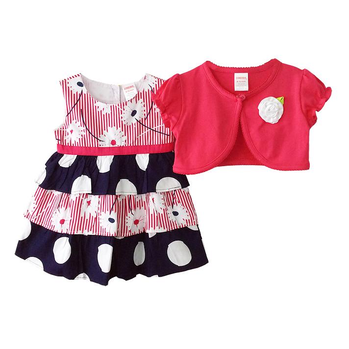 เสื้อผ้าเด็กขายส่ง ชุด 2 ชิ้น ชุดกระโปรง พร้อมเสื้อคลุมผ้าคอตตอนเนื้อนุ่ม สวยน่ารัก