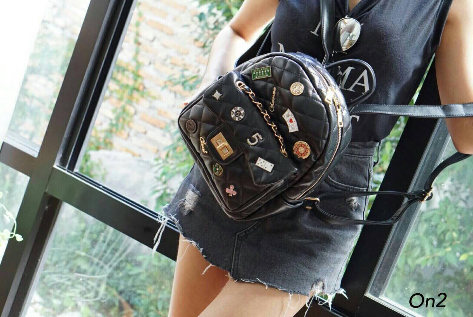 Chanel lady blackpackกระเป๋าเป้สพายที่ชิคที่สุดแล้ว จัดเต็มอะไหล่แน่นๆไม่มีกั๊ก