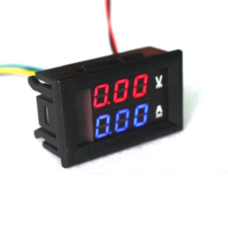 DC 100V 10A Voltmeter Ammeter Blue + Red LED Amp Dual Digital Volt Meter
