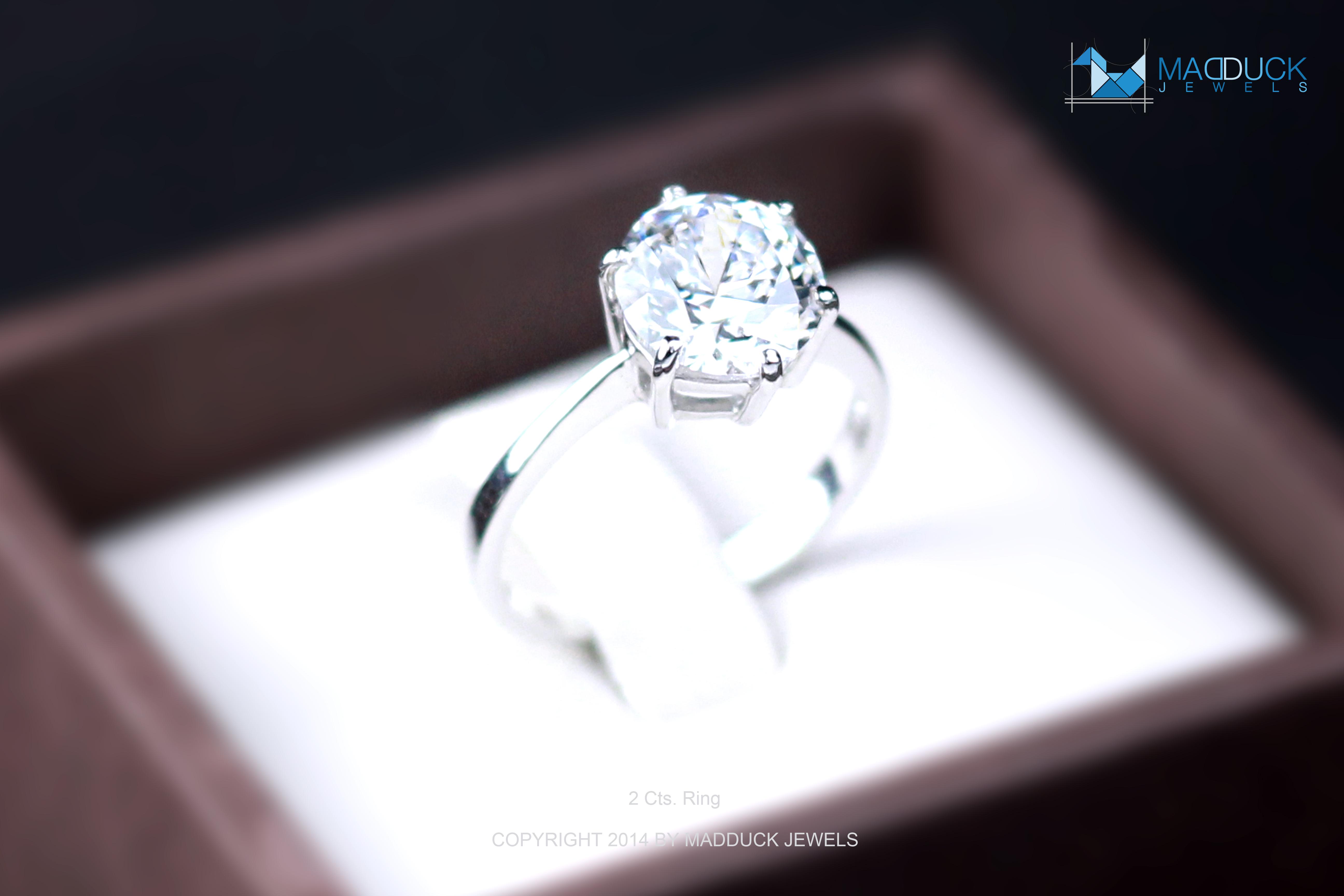 แหวนเงินแท้ เพชรสังเคราะห์ ชุบทองคำขาว รุ่น RG1302 2.00 Carat