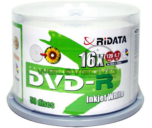 RiDATA DVD-R 16X Printable (50 pcs/Cake Box)