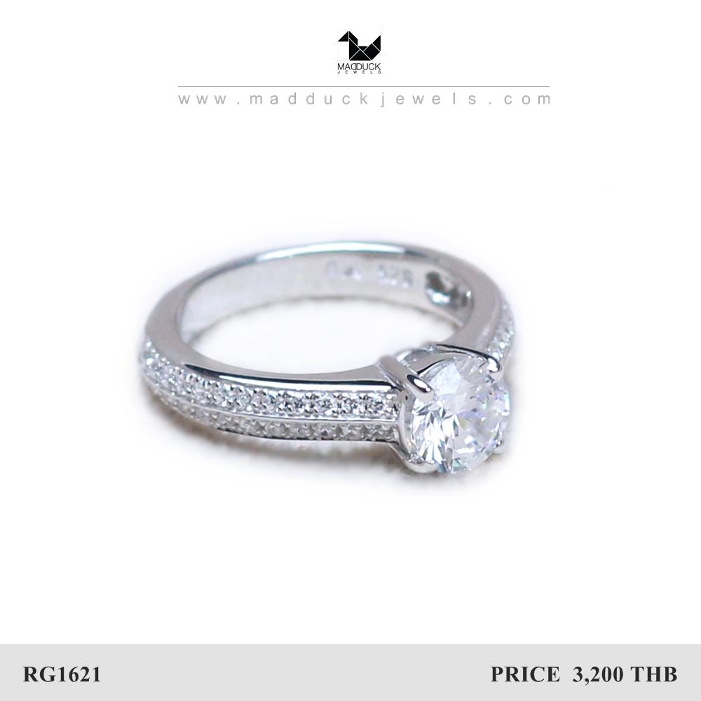 แหวนเงินแท้ เพชรสังเคราะห์ ชุบทองคำขาว รุ่น RG1621 0.75 carat luxury line