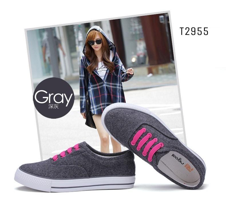 รองเท้าผ้าใบแฟชั่นสีเทา แบบเชือก แฟชั่นเกาหลี (สีเทา )