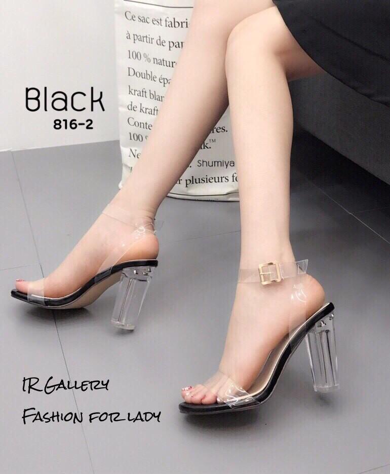 รองเท้าส้นตันรัดข้อสีดำ พลาสติกใสนิ่มไม่บาดเท้า (สีดำ )