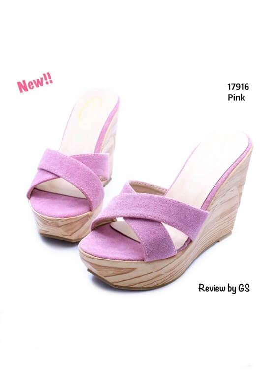 รองเท้าแตะส้นเตารีด ส้นไม้ สายคาดไขว้ (สีชมพู )