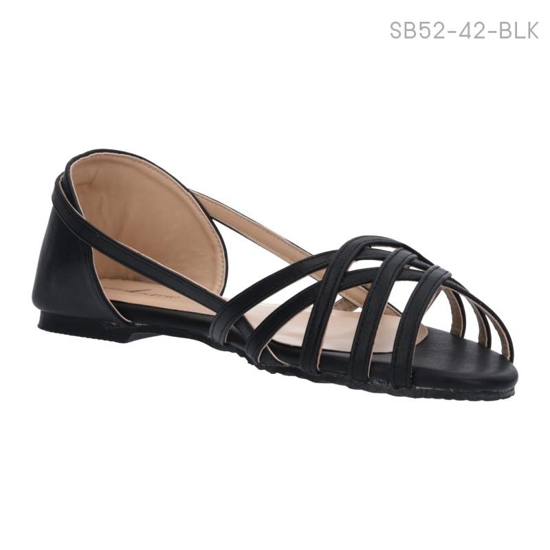 ลดล้างสต๊อก รองเท้าส้นแบน SB52-42-BLK [สีดำ]