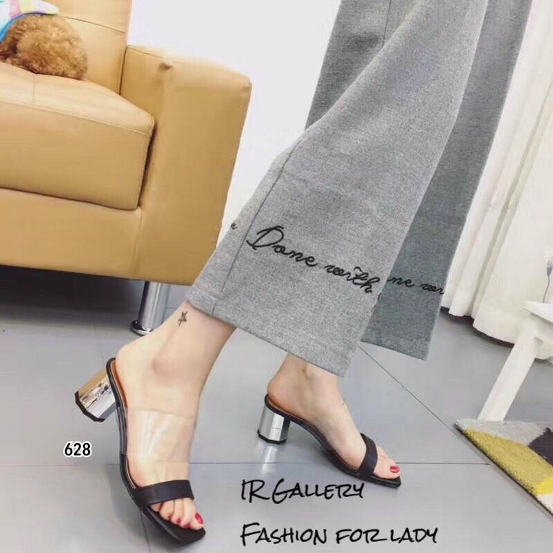 รองเท้าส้นตันเปิดส้นสีดำ แบบสวมคาดหนัง+พียูใสนิ่ม (สีดำ )