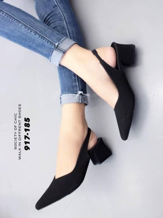 รองเท้าส้นตันรัดส้นสีดำ หัวแหลม ZARA top basic (สีดำ )