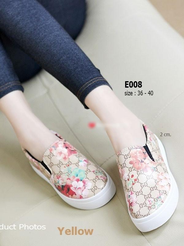 รองเท้าผ้าใบผู้หญิง พื้นยาง พิมพ์ลายดอกไม้ (สีเหลือง )