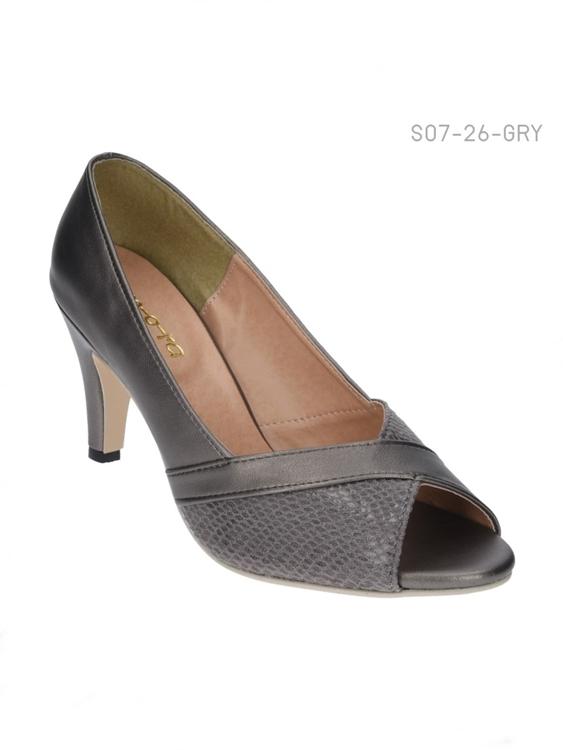 รองเท้าคัทชูส้นสูงแบบเปิดนิ้วเท้า แต่งลายหนังงู (สีเทา )