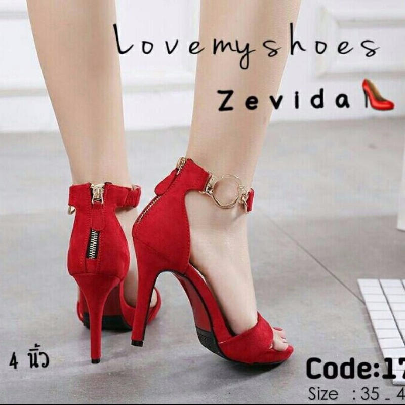 รองเท้าส้นสูงรัดข้อสีแดง ผ้าสักหราด แต่งซิปหลัง (สีแดง )