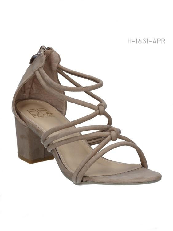 รองเท้าส้นสูงสานรัดส้น สไตล์ลำลอง (สีแอปริคอล)
