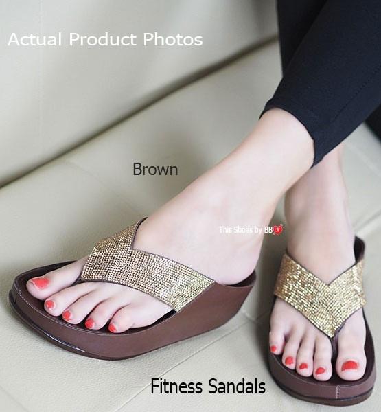 รองเท้าแตะเพื่อสุขภาพสีน้ำตาล Crystal Fitness Soft (สีน้ำตาล )
