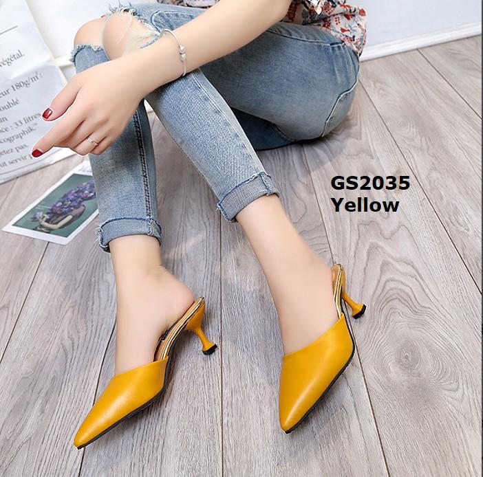 รองเท้าส้นสูงหัวแหลมสีเหลือง เปิดส้น สไตล์เรียบหรู (สีเหลือง )