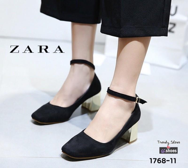 รองเท้าคัทชูส้นตันสีดำ หัวมน สไตล์ Zara (สีดำ )