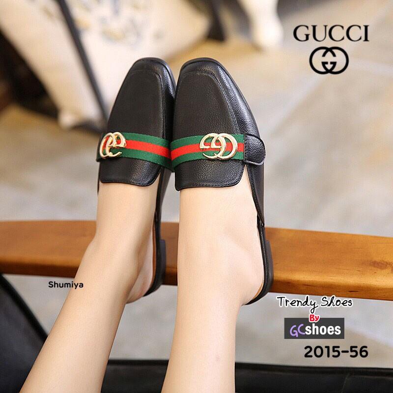 รองเท้าส้นแบนเปิดส้นสีดำ หนังนิ่ม STYLE GUCCI (สีดำ )