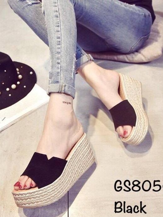 รองเท้าส้นเตารีด ทรงสวม คาดหน้าผ้าสักหราด (สีดำ )