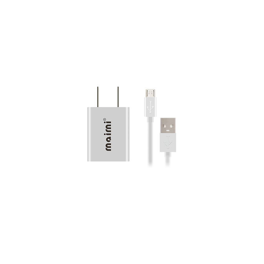 Maimi wall charge adapter 2 in1 Micro USB Caable for ios (white)