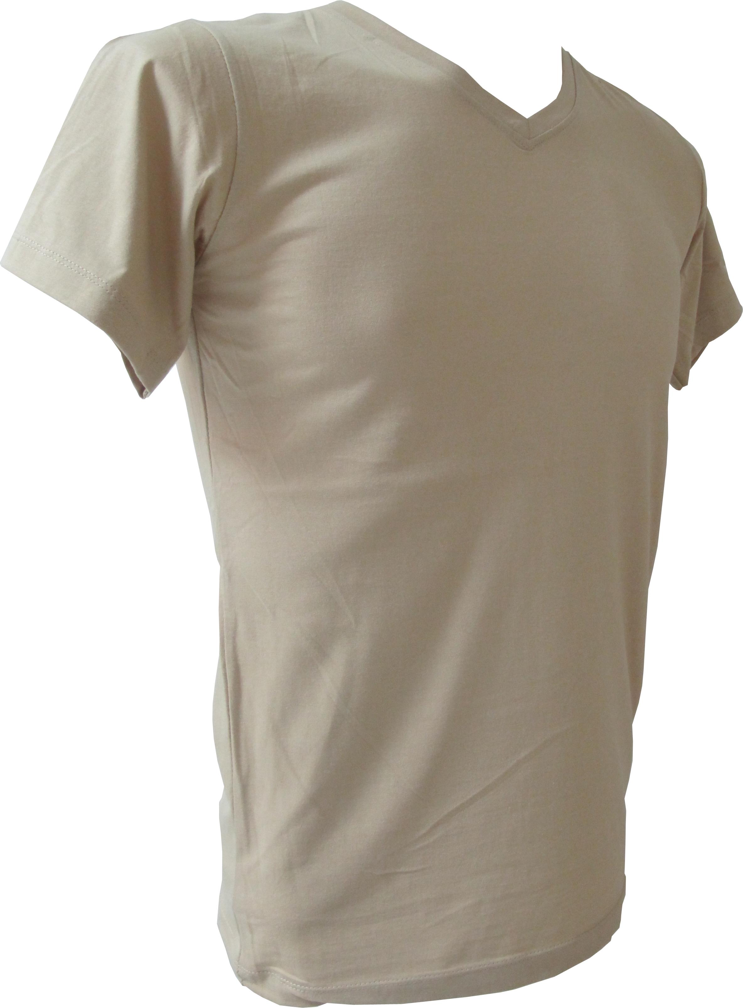 COTTON100% เบอร์32 เสื้อยืดแขนสั้น คอวี สีกากี