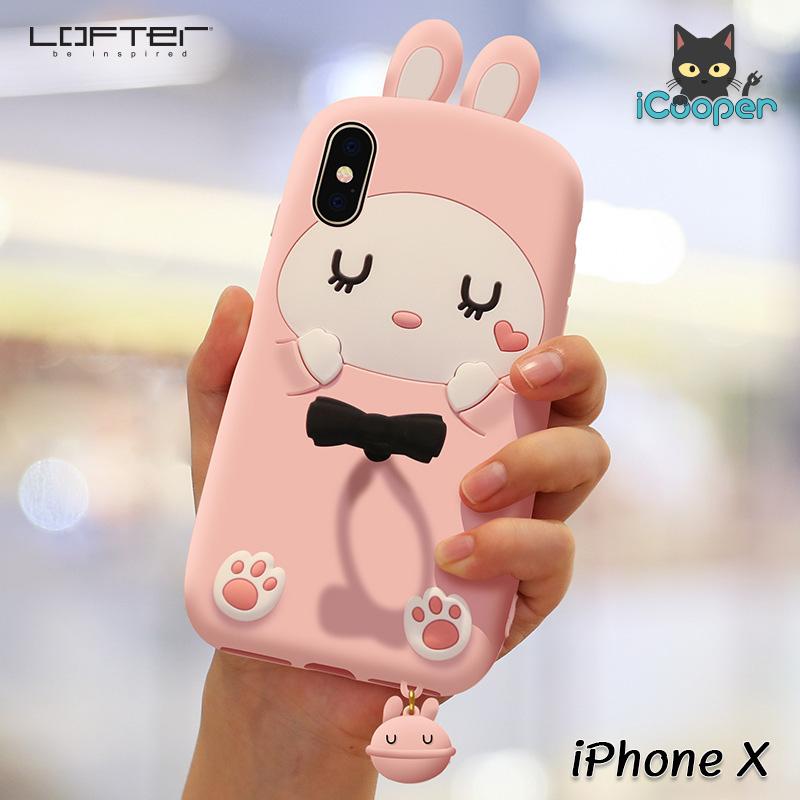 LOFTER Cute Rabbit Silicone - Pink (iPhoneX)