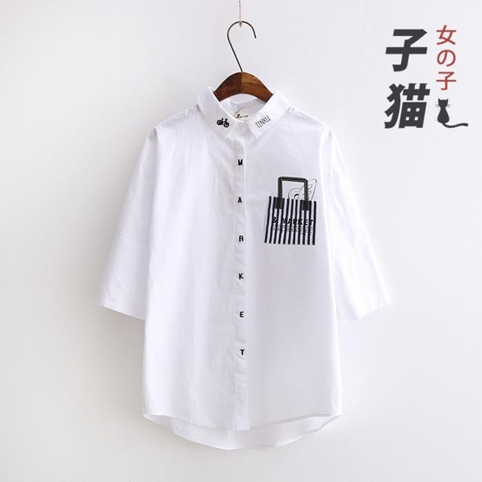 เสื้อเชิ้ต ปักลาย/พิมพ์ลาย (มีให้เลือก 2 สี 2 ไซส์)