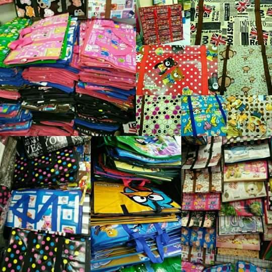 ราคาส่ง 85 บาท Shopping Bag กระเป๋าสปันบอลลายการ์ตูน คละแบบ ขายส่ง ขนาดใหญ่ จัมโบ้ 80*80cm.