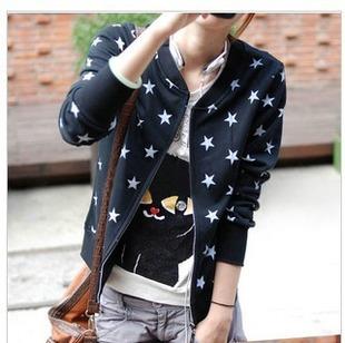 (Pre Order) เสื้อแจ็คเก็ตสั้นสบาย ๆ ซิปแขนเต็มรูปแบบ ลายดาวน่ารักมาก มี 2 สี ดำ,เทา ไซส์ M,L,XL