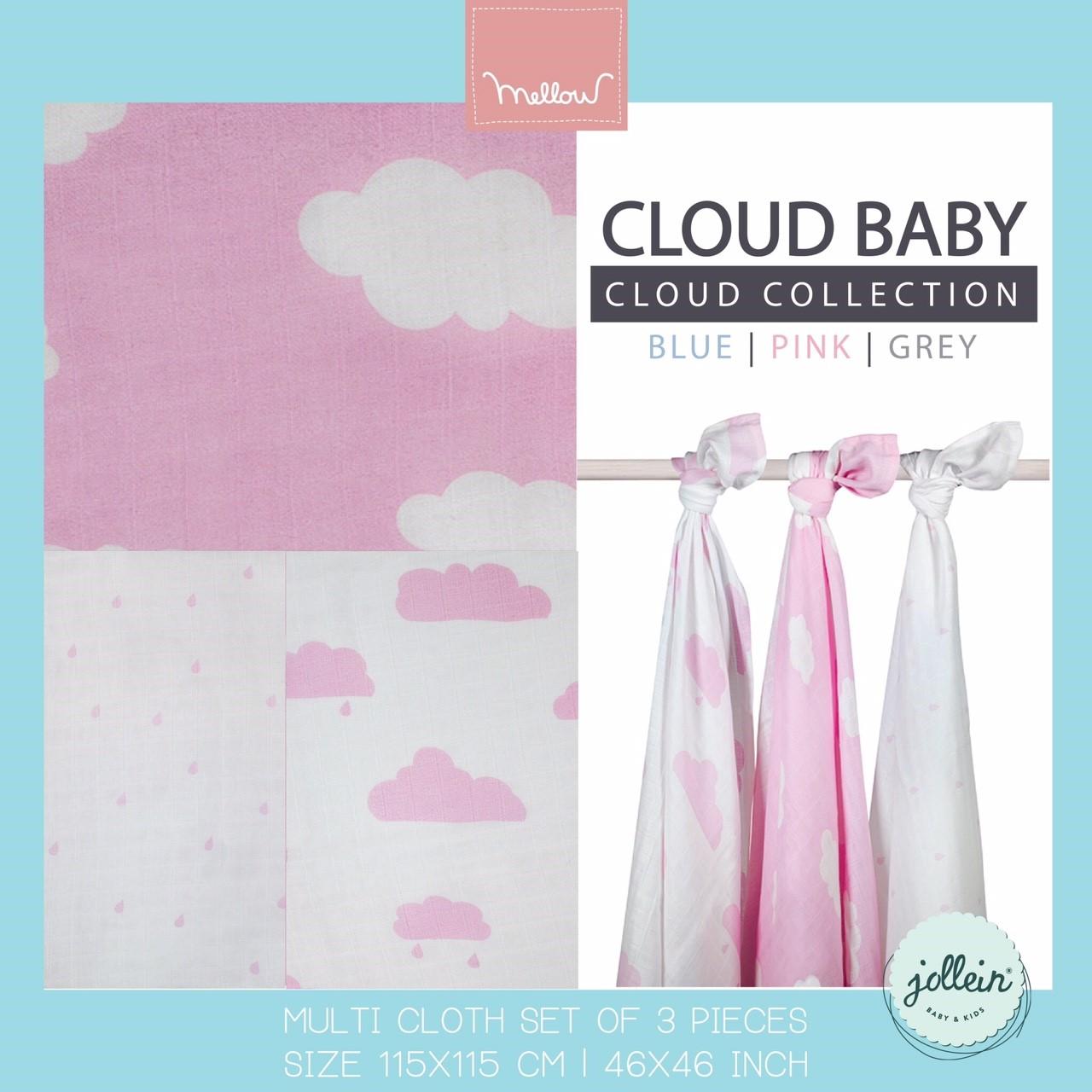 Jollein - Multi cloth Cloud pink ผ้าห่อตัวลายก้อนเมฆชมพู เซต 3 ผืน size 115x115 cm.