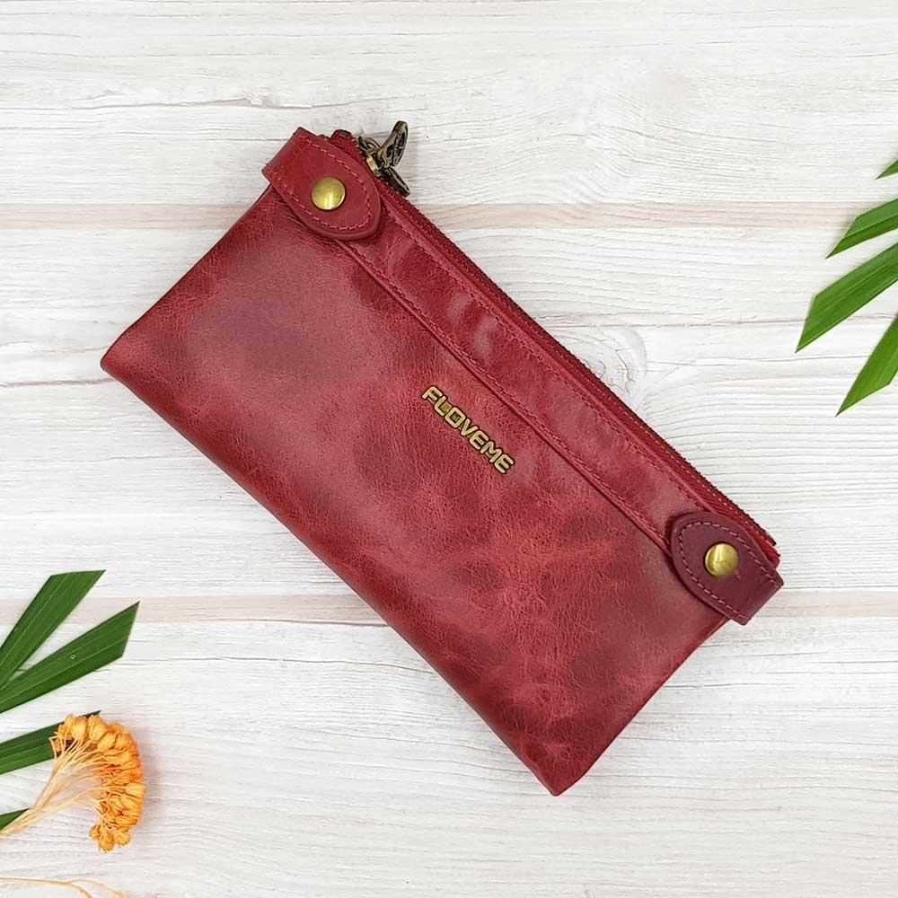 กระเป๋าสตางค์หนังแท้ ทรงยาว ช่องซิปยาว 2 ช่อง สีแดง