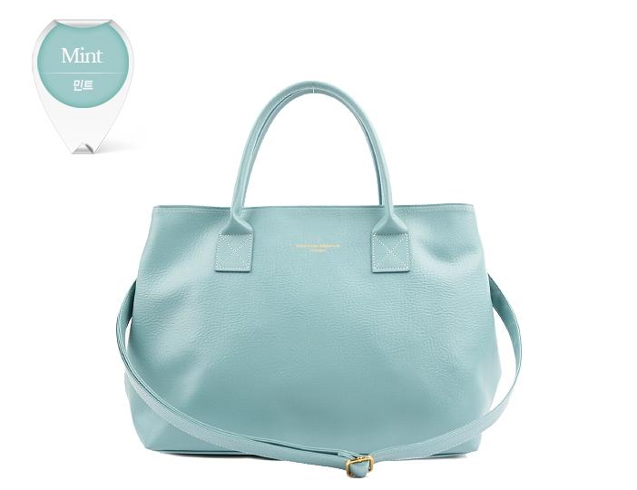 พร้อมส่ง กระเป๋าสะพายไหล่สีมิ้นท์สวยๆ หิ้วได้จากเกาหลี รูดซิป ดีไซน์ด้านข้างแบบติดกระดุมแป๊บ