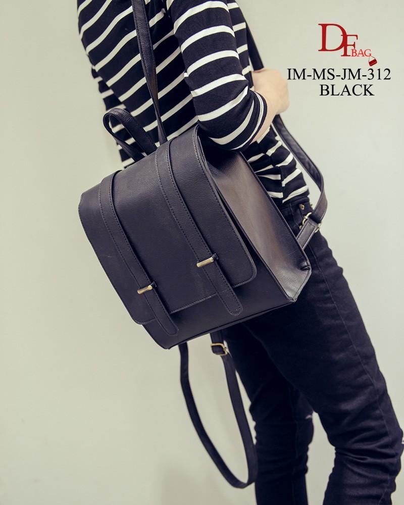 กระเป๋าเป้ผู้หญิง กระเป๋าสะพายหลังแฟชั่น สไตส์ญี่ปุ่น หนังPUคุณภาพดี [สีดำ ]