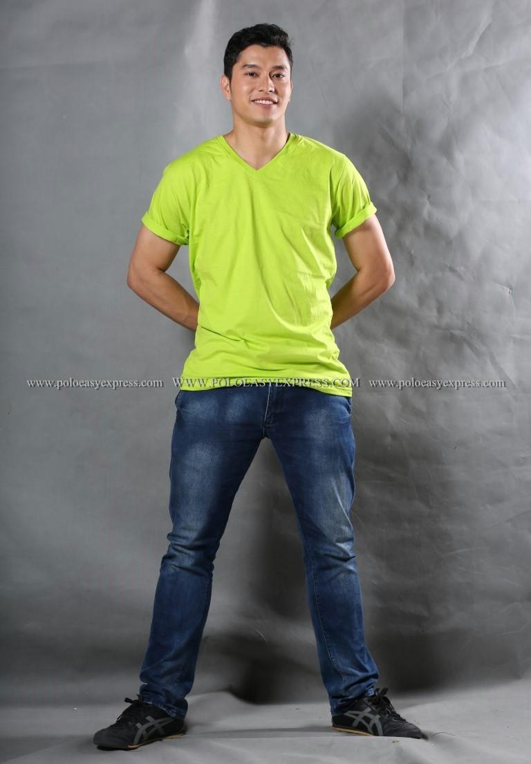 3XL เสื้อยืด สีเขียวมะนาว คอวี แขนสั้น Size 3XL