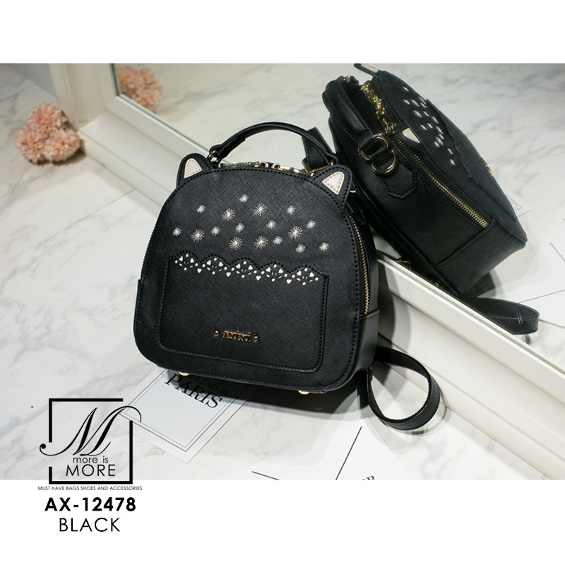 กระเป๋าเป้แฟชั่นนำเข้าแบรนด์ axixi ทรงสุดน่ารัก AX-12478-BLK (สีดำ)