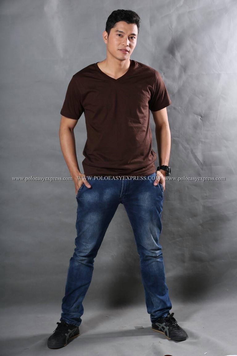 2XL เสื้อยืด สีน้ำตาล คอวี แขนสั้น Size 2XL