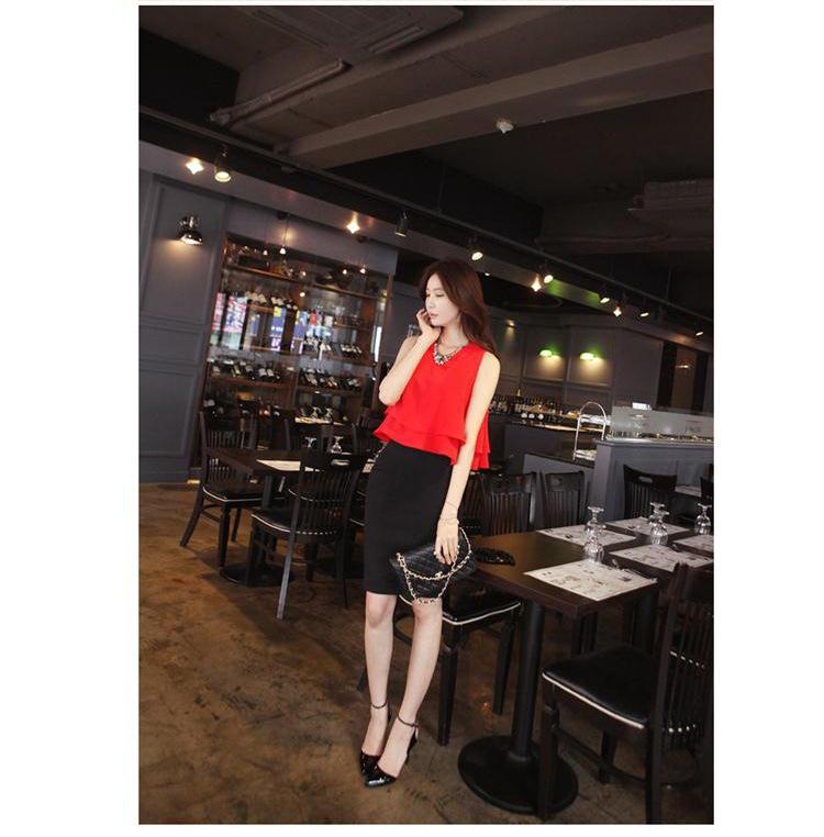 รับตัวแทนจำหน่ายชุดเดรสทำงานแฟชั่นเกาหลีสีแดงกระโปรงดำน่ารักๆ