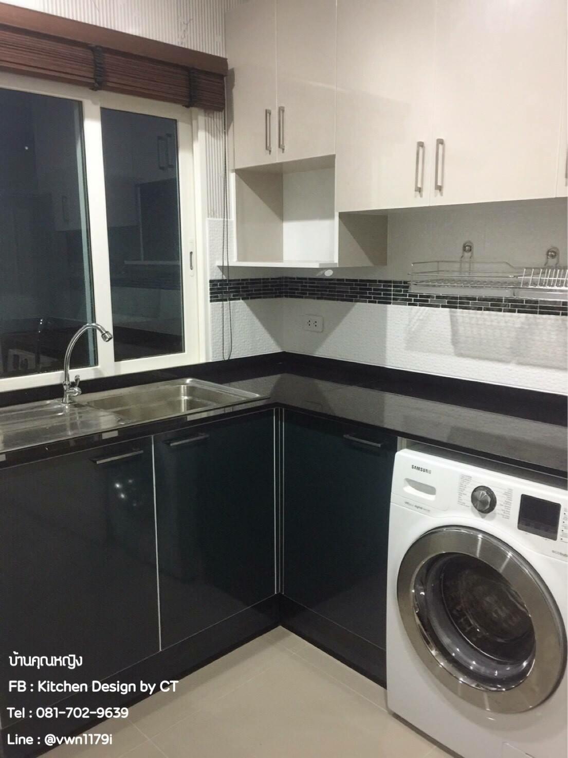 Black & Creamy Kitchen (ครัวบิ้วอินหน้าบานสีดำเงาและสีครีม)