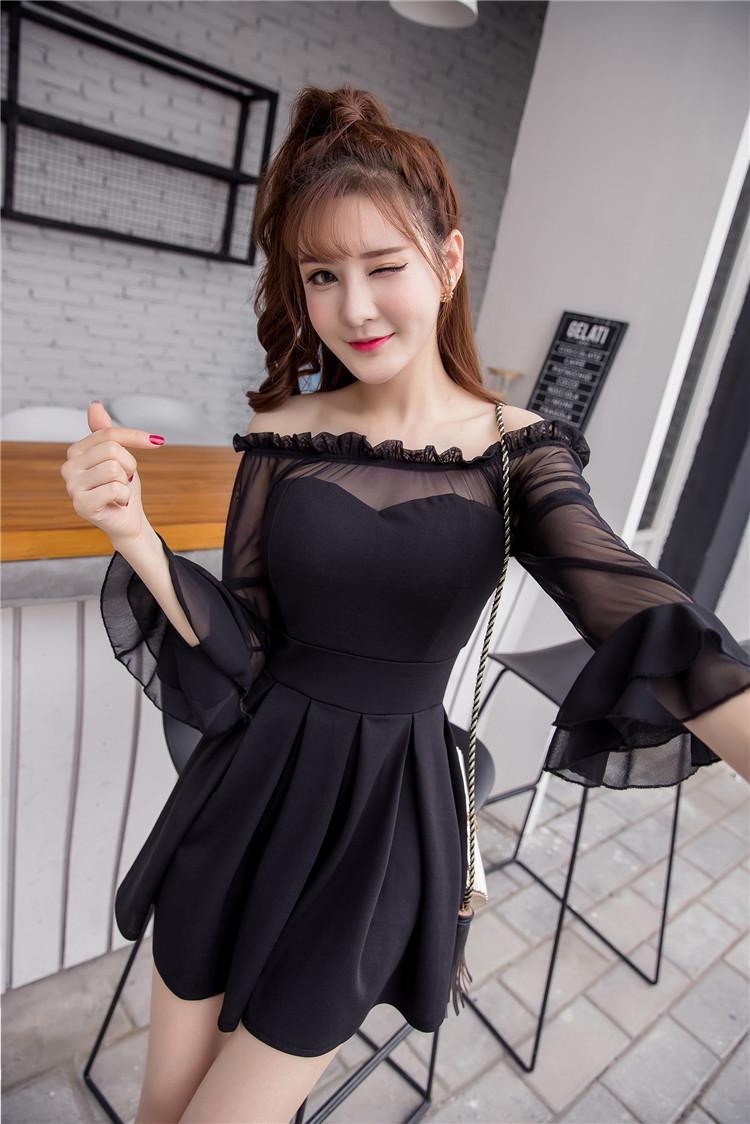 ชุดเดรสแฟชั่นเกาหลีสีดำสวยๆ