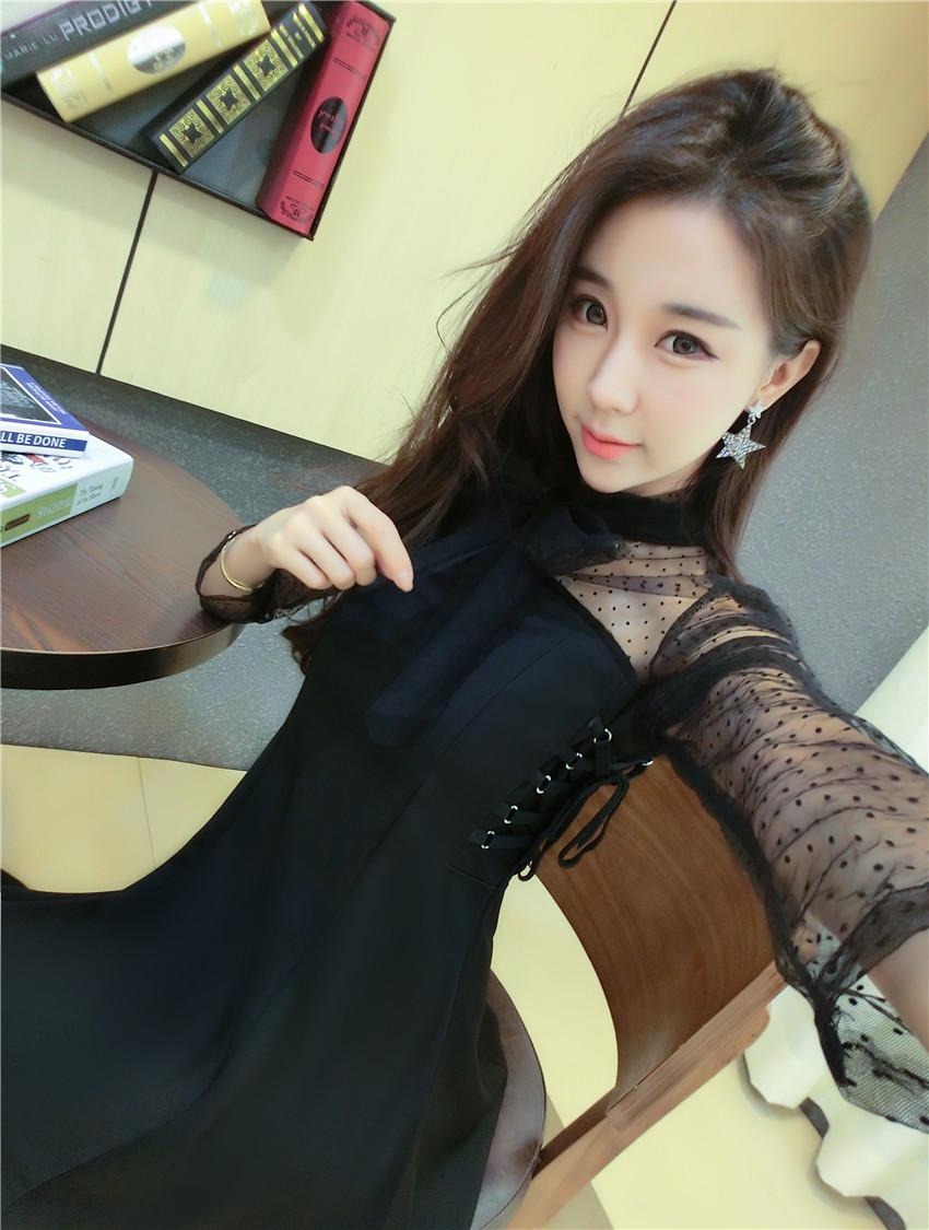 ชุดเดรสแฟชั่นเกาหลีสีดำ ชุดว่ายน้ำสวยๆ