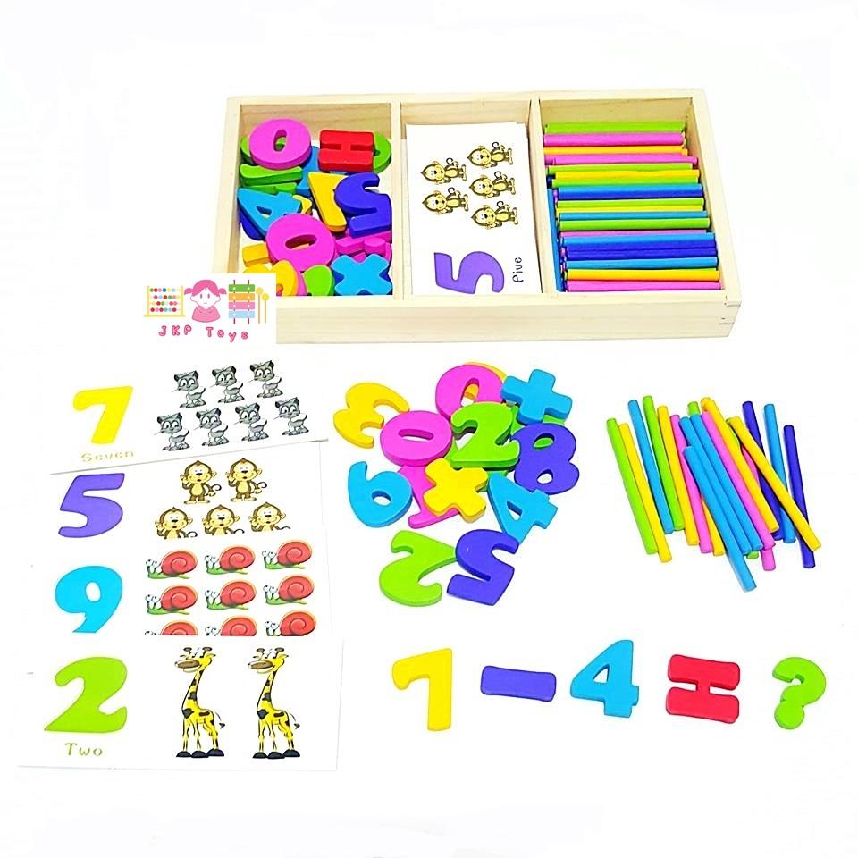 การ์ดสอนตัวเลข 0-9 มาพร้อมเเท่งไม้สอนนับเลขหลากสีสัน