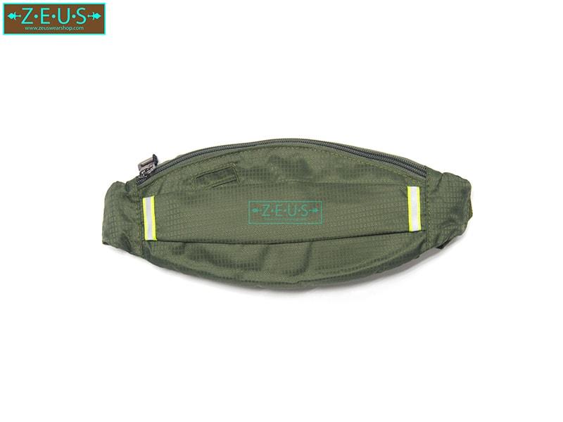 กระเป๋าคาดเอววิ่ง ผ้าร่มกันน้ำ สีเขี้ยวขี้ม้า ช่องใส่ของ 3 ซิป Size M