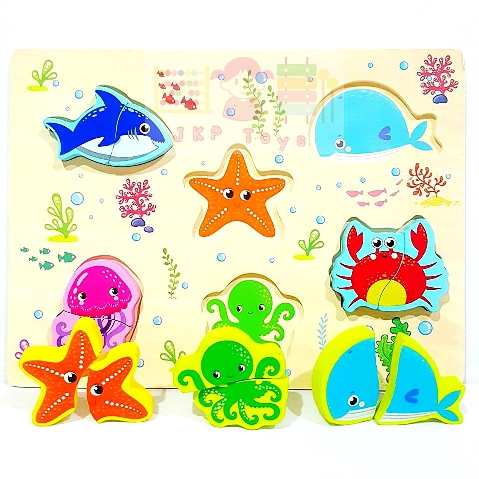 กระดานภาพเเละบล็อคไม้นูน ลายสัตว์ทะเล (เล่นจับคู่ เเละ จิ๊กซอว์)