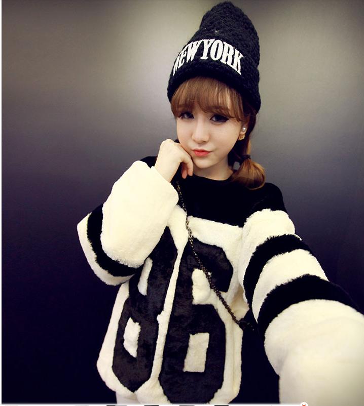 เสื้อกันหนาวแฟชั่นเกาหลีราคาถูกสีขาว
